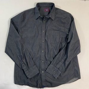 UnTuckit Gray Button Front Shirt Logo Slim XL